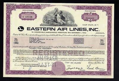 Eastern Air Lines 1978 USD 25,000.00 old bond certificate