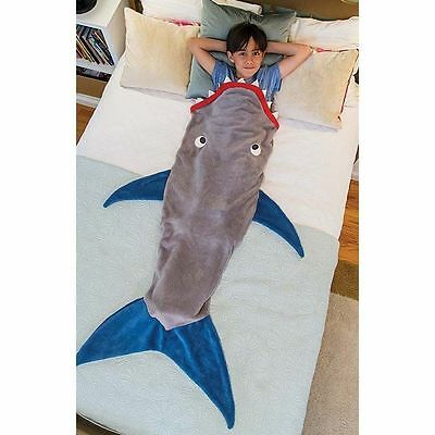 Adult Kid Shark Mermaid Tail Fleece Blanket Soft Snuggle-in Sleeping Bag Costume