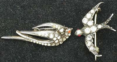 Beautiful Pair Edwardian Silver Metal & Paste Swallow Brooches
