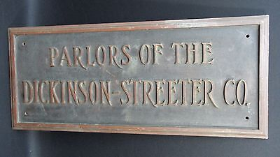 Vintage Bronze and Metal Advertisement Dickinson-Streeter CO. Sign
