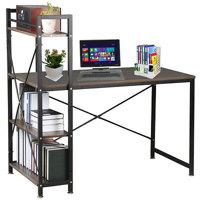 Wooden &Metal Computer Desk Home Office/Study Table Workstation w/Bookcase Shelf