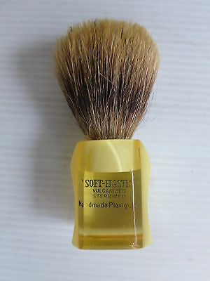 Vintage Soft-Elastic Handmade Yellow Plexiglass Shaving Brush Badger Hair