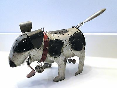 Spike Metal DOG Sculpture CANDLE HOLDER Blue Handworks Funny!