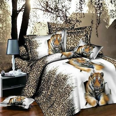 3D Tiger Duvet Quilt Cover Fitted Sheet Bed Pillowcase Bedding Set Double Queen