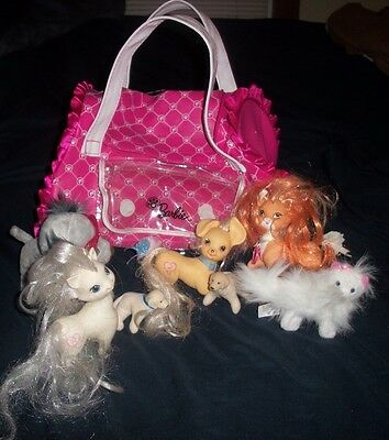 Licensed Barbie Carry Bag Plus Lot 7 Animals Pets Puppy Dogs Cats Kittens  #4