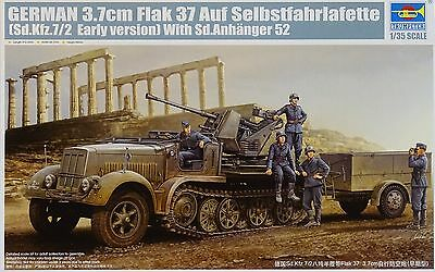 TRUMPETER® 01525 3.7cm Flak 37 auf Sd.Kfz.7/2 Early Version w/Sd.Anh.52 in 1:35
