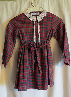 VINTAGE CHILD'S DRESS Red Plaid Lace Collar SIZE 5