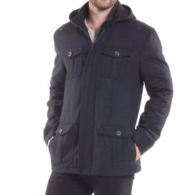 Alpine Swiss Noah Mens Wool Coat Parka with Removable Hood Jacket Cargo Pockets