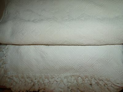 Lot of 2 Antique Early 1900's Woven White Cotton Matelasse Bedspread Coverlets
