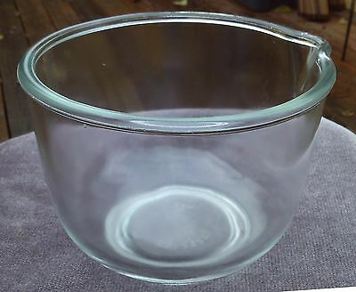 Vintage GLASBAKE for SUNBEAM No.13 Spout Mixing Bowl Clear Glass
