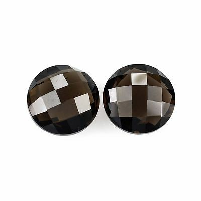 A PAIR OF 8mm ROUND-FACET CHECKER-CUT NATURAL AFRICAN SMOKEY QUARTZ GEMSTONES
