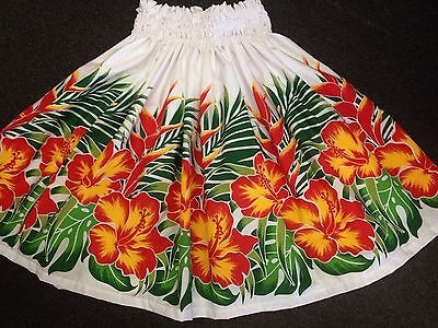 "New White Hibiscus Hawaiian Hula Pau Pa'u Skirt 28"" Long"