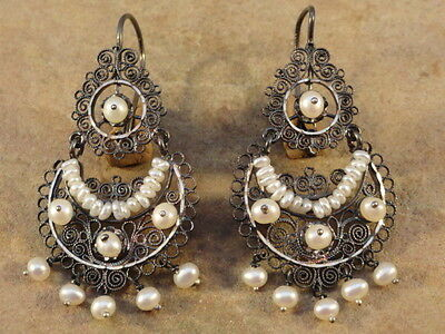 Mexican Mexico Sterling Silver & Pearl Frida Earrings