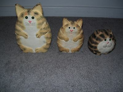 James Haddon 3 Carved Cats Signed