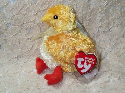 """TY Basket Beanies Chickie Easter Chick Chicken Hang Tag Gift Tag 2002 Mint 4"""" T"""