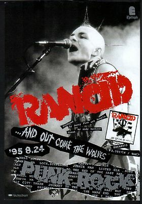 1995 Rancid And Out Come The Wolves JAPAN album ad / mini poster advert r9r