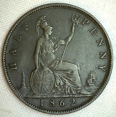 1862 Copper Bronze Half Pence UK Half Penny Great Britain Coin XF M2