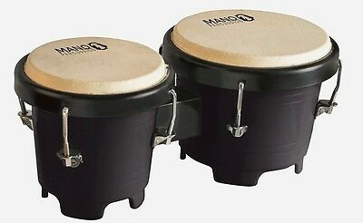 Mano Percussion Mini Bongo Drums, 4.5 & 5 Inch Tunable Heads Black