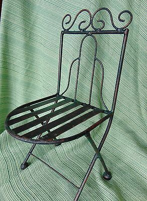 """Wrought Iron 12"""" Chair Plant Stand for Cactus etc. Patina Reddish Sturdy 5""""deep"""
