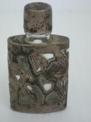 Sgnd Vintage Antique Mexican Taxco Sterling Silver Over Glass Perfume Bottle Nr