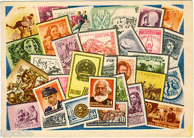 1956 Soviet Russian card COLLECT STAMPS OF COUNTRIES OF PEOPLE'S DEMOCRACY!