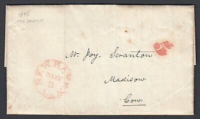 Usa 1846 Stampless Folded Letter New Haven To Madison Connecticut