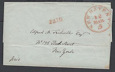 USA 1840's 'PAID' STAMPLESS FOLDED LETTER NEW HAVEN CONNECTICUT TO NEW YORK