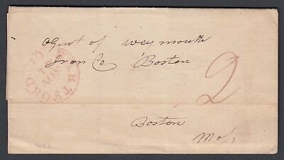 Usa 1843 Stampless Folded Letter Hartford Connecticut To Boston Mass