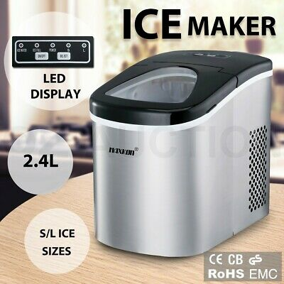 2.4L Stainless Steel Portable Ice Cube Maker Machine Automatic Home Fast Snow