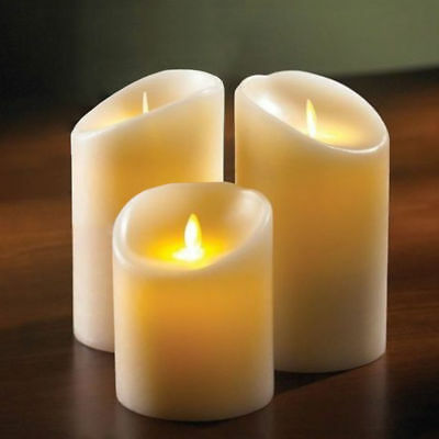 SET OF 3 Pillar CANDLES LED Ivory MOVING WICK battery powered REAL WAX flameless