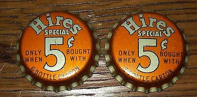 Lot of 2 Vintage Hires Special 5 Cents Unused Soda Pop Bottle Caps Root Beer