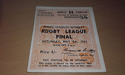 1964 Rugby League Cup Final(Wigan V Hunslet) *mint* Original Ticket