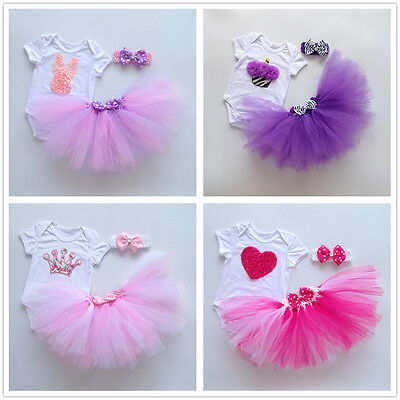 3PCS Baby Girl 1st Birthday Romper Tulle Tutu Skirt Dress Christmas Party Outfit