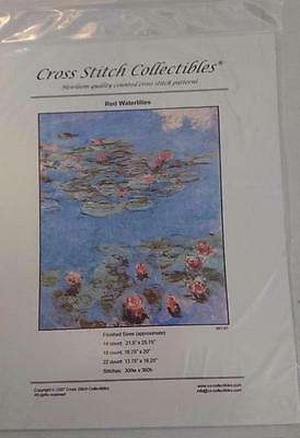 Cross Stitch Collectibles Chart / Pattern Red Waterliillies MO-67  NEW