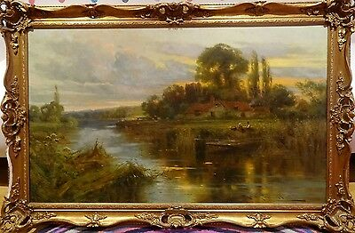Fine Large 19th Century River Thames Sunset Landscape Oil Painting Harry PENNELL