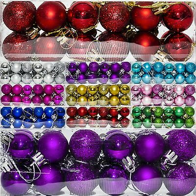 24 Christmas 3cm Glitter Metallic Hanging Baubles Tree Ornaments Decorations