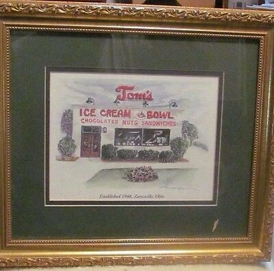 """Water Color Print Double Signed By M A Bucci """"tom's Ice Cream Bowl"""" Limited"""