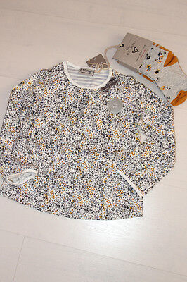 BNWT NEXT beautiful girl's white/grey 'flower' top +tights set, 4-5 years.
