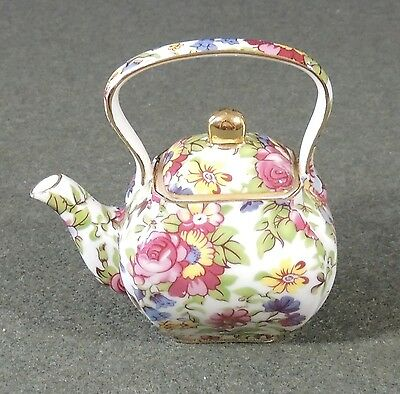 Royal Cotswolds English Tradition Chintz Miniature Teapot R. Gottinger New