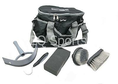 FREE P&P Knight Rider Canvas Tack Kit Bag & Grooming Accessories Black/ Grey !!
