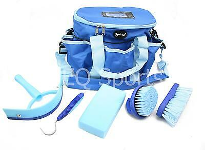 FREE P&P Knight Rider Canvas Tack Kit Bag & Grooming Accessories Blue/ Sky Blue