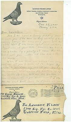 1944  1309 Signal Pigeon Co US Army Hand written Letter in envelope