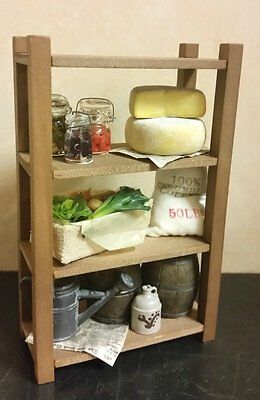 Dollhouse Scaffale a dispensa verdure formaggio Pantry shelves vegetable cheese