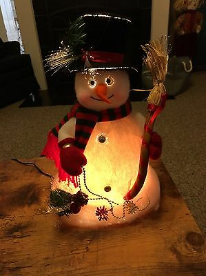 "Vintage 12"" Fiber Optic Lighted Snowman Top Hat Red & Black Striped"