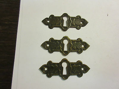 3 Antique Victorian Brass Hardware Drawer pulls Handles key escutcheon A