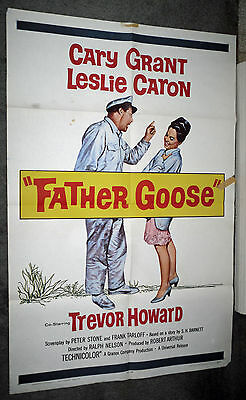 FATHER GOOSE original 1965 one sheet movie poster CARY GRANT/LESLIE CARON