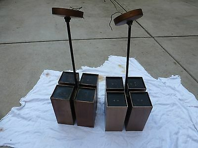 Pair Anodized Hanging Lamps Brutalist Jere Regency California Modern 60's 70's