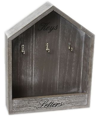 Grey Wooden Shabby Chic Wall Hanging House Key Mail Letter Rack