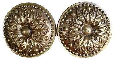 Pair of Antique Italian Leafy Brass Curtain Tie Backs Tiebacks 3 Piece