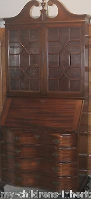 Antique Mahogany Clawfoot Serpentine Drawers Secretary Desk Bookcase